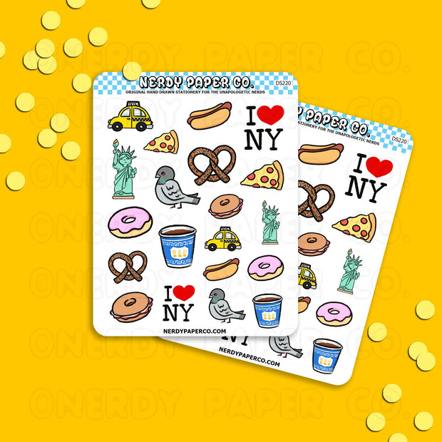 TRAVEL NYC - Hand Drawn Planner Stickers - DS220