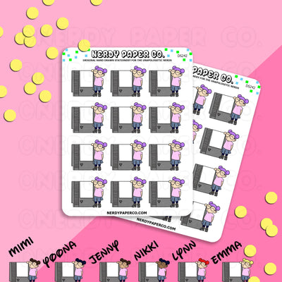 PIXEL SIZE CLASSIC GAMING KAYLA - Hand Drawn Planner Stickers - Deco -242