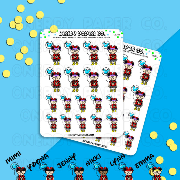 KAYLA AT THE PARK - Hand Drawn Planner Stickers - DS300