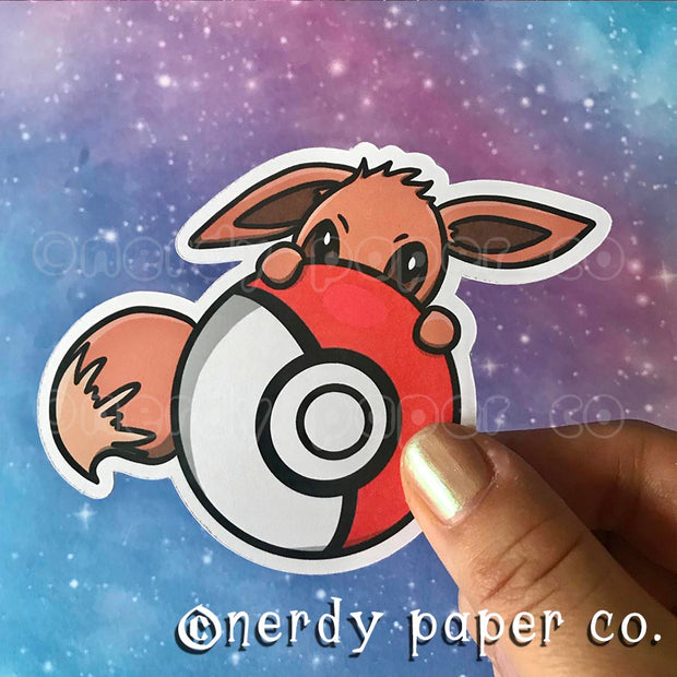 PEEKING EEVEE - Hand Drawn Die Cut