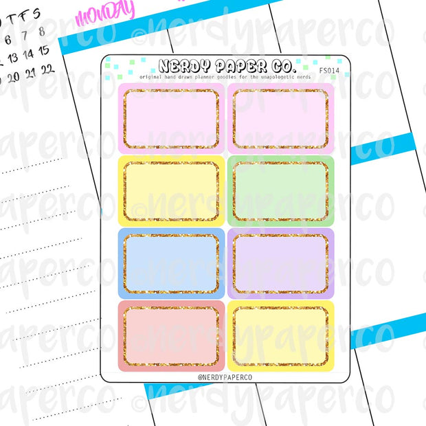 PASTEL RAINBOW 1/2 BOXES - HAND DRAWN PLANNER STICKERS - FS014