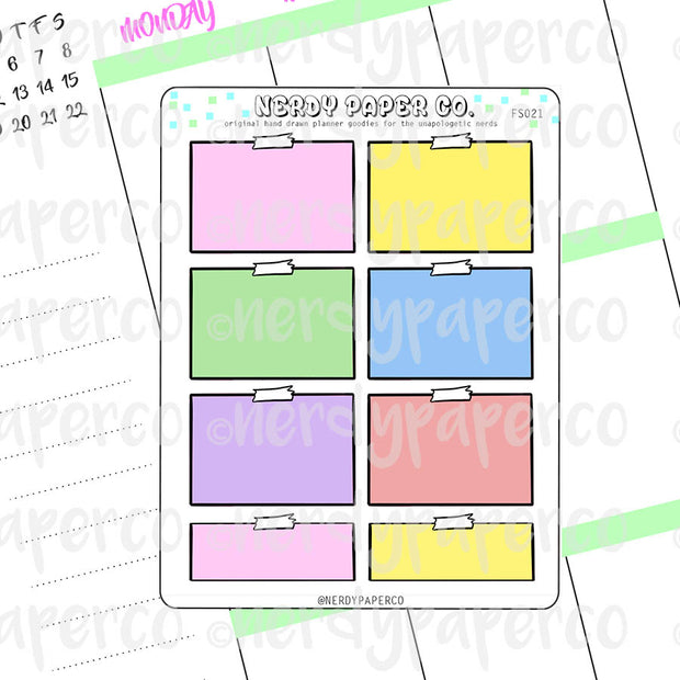 PASTEL NOTE HALF BOXES - Hand Drawn Planner Stickers - FS021