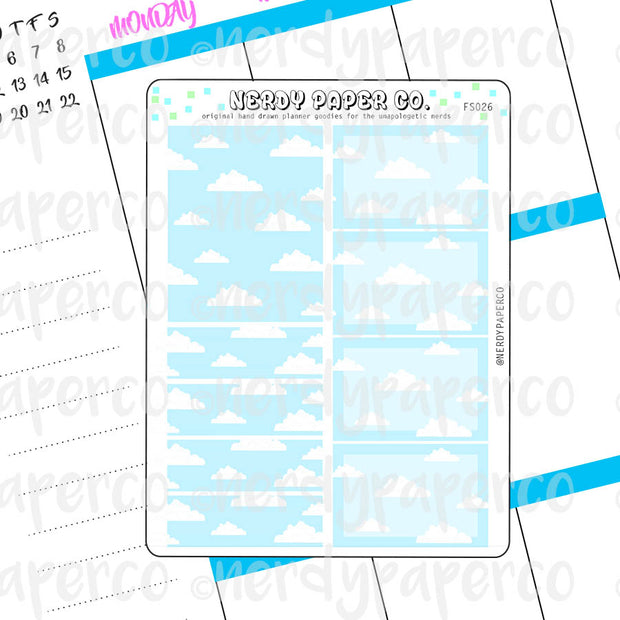 PIXEL CLOUD BOXES- Hand Drawn Planner Stickers - FS026