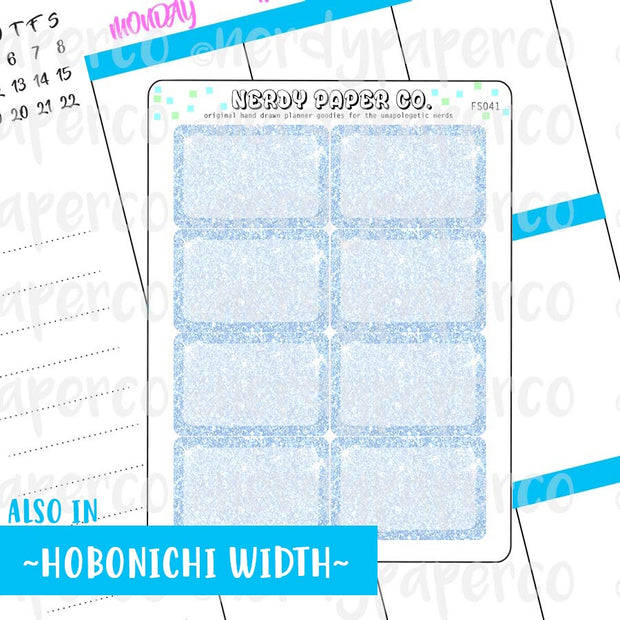 BLUE GLITTER HALF BOXES - Hand Drawn Planner Stickers - FS041