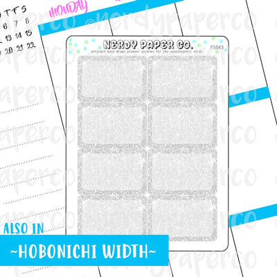 SILVER GLITTER HALF BOXES - Hand Drawn Planner Stickers - FS043