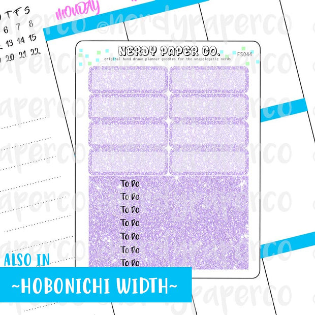 PURPLE GLITTER HEADERS AND 1/4 BOXES - Hand Drawn Planner Stickers - FS044