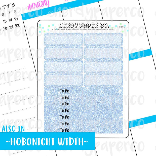 BLUE GLITTER HEADERS AND 1/4 BOXES - Hand Drawn Planner Stickers - FS045