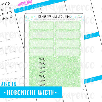 GREEN GLITTER HEADERS AND 1/4 BOXES - Hand Drawn Planner Stickers - FS046