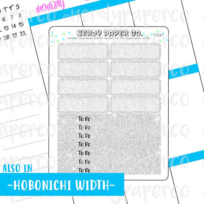 SILVER GLITTER HEADERS AND 1/4 BOXES - Hand Drawn Planner Stickers - FS047
