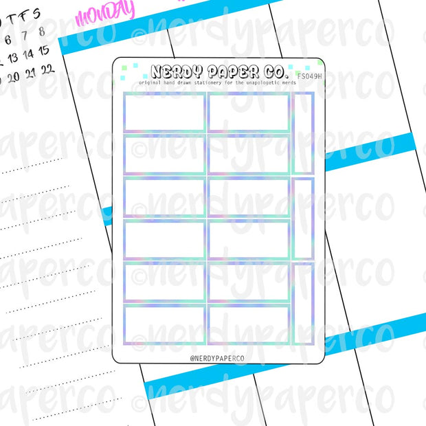 HOLO HOUR BOXES - Hand Drawn Hobonichi Planner Stickers - FS049H