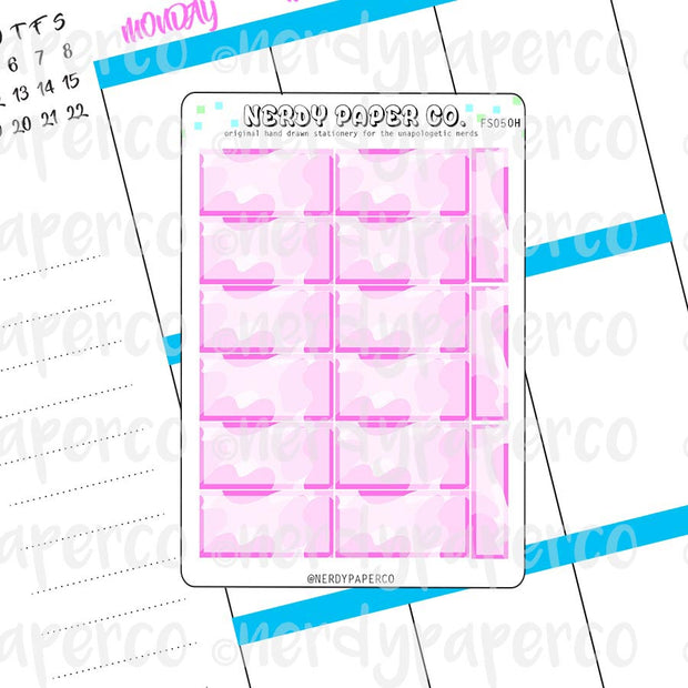 PINK CAMO HOUR BOXES - Hand Drawn Hobonichi Planner Stickers - FS050H