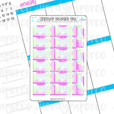 BRIGHT CAMO HOUR BOXES - Hand Drawn Hobonichi Planner Stickers - FS051H