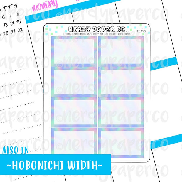 HOLO 1/2 BOXES - HAND DRAWN PLANNER STICKERS - FS053