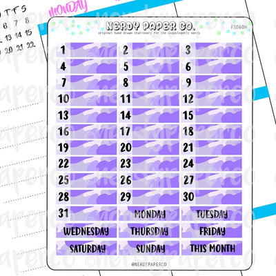 MONTHLY DATE COVERS | PURPLE CAMO - Hand Drawn Hobonichi Planner Stickers - FS060H
