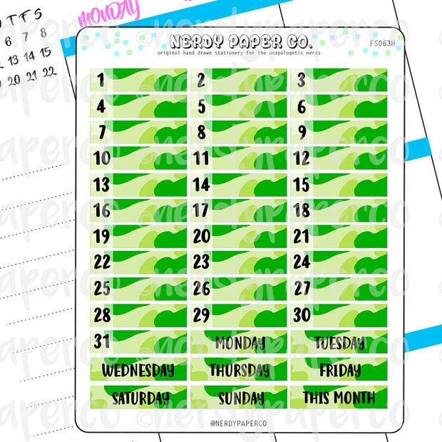 MONTHLY DATE COVERS | GREEN CAMO - Hand Drawn Hobonichi Planner Stickers - FS063H
