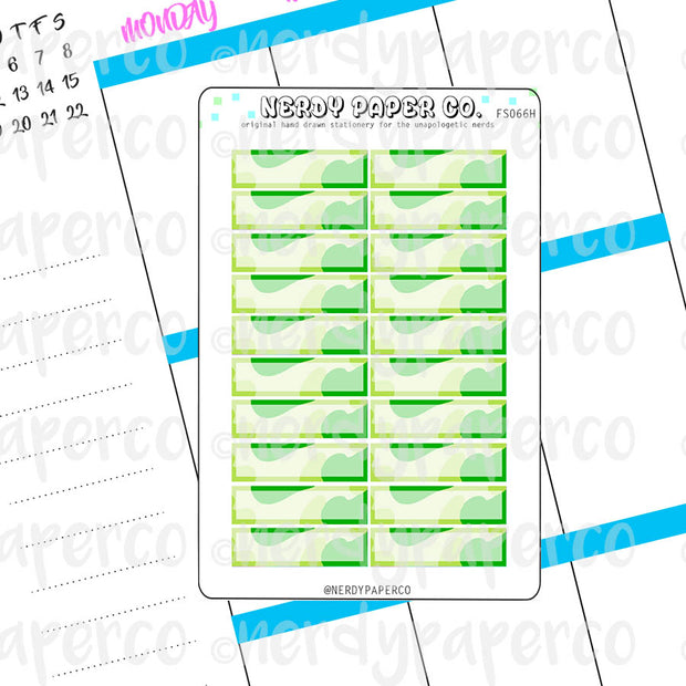 GREEN CAMO 1 HOUR BOXES - Hand Drawn Hobonichi Planner Stickers - FS066H