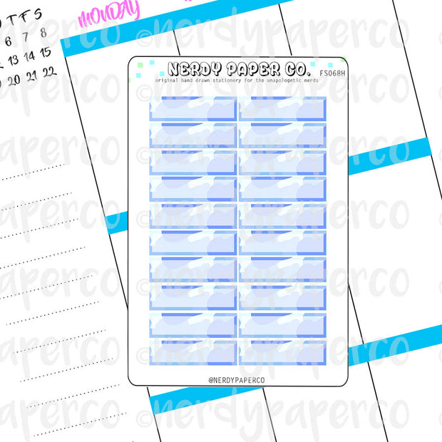 BLUE CAMO 1 HOUR BOXES - Hand Drawn Hobonichi Planner Stickers - FS068H