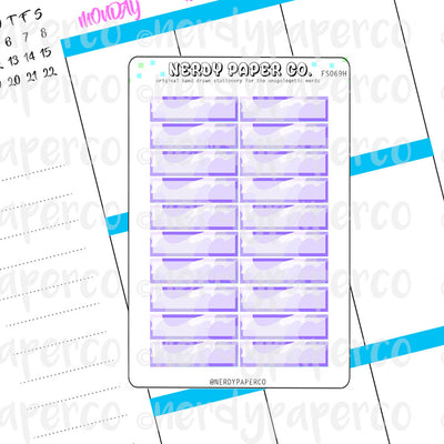 PURPLE CAMO 1 HOUR BOXES - Hand Drawn Hobonichi Planner Stickers - FS069H