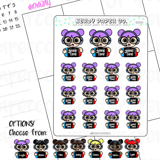 GAME TIME STICKER - GAMER / Planner Sticker / Hand drawn stickers | Gs005