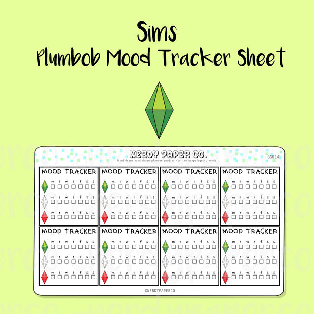 SIMS PLUMBOB MOOD TRACKER SHEET - Hand Drawn Planner Stickers - Deco - GS014