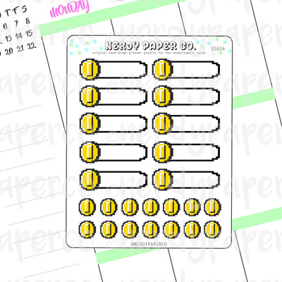 NINTENDO-INSPIRED COIN - 1/4 Boxes and Coins - Hand Drawn Planner Stickers - Deco | GS016