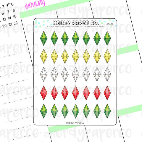 SIMS PLUMBOB STICKERS - Hand Drawn Planner Stickers- Deco- GS022