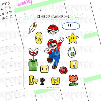 MARIO - Hand Drawn Planner Stickers - Deco - GS023