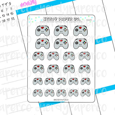 KAWAII GAME CONTROLLER - Hand Drawn Planner Stickers - GS027