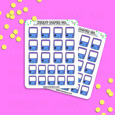 PURPLE GAMEBOY - Hand Drawn Planner Stickers - Deco -GS030