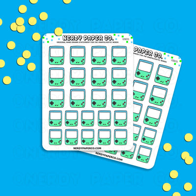 SEA FOAM GAMEBOY - Hand Drawn Planner Stickers - Deco -GS031