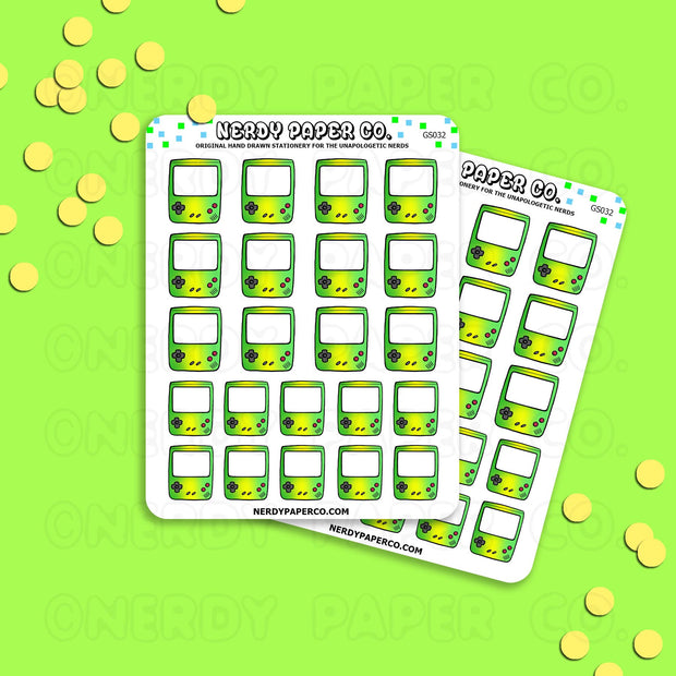 GREEN OMBRE GAMEBOY - Hand Drawn Planner Stickers - Deco -GS032