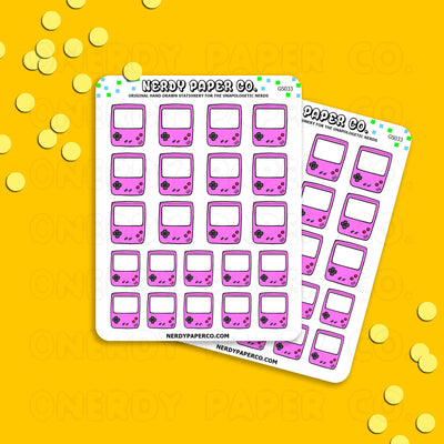 PINK GAMEBOY - Hand Drawn Planner Stickers - Deco -GS033