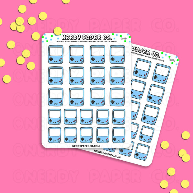 ICE BLUE GAMEBOY - Hand Drawn Planner Stickers - Deco -GS034