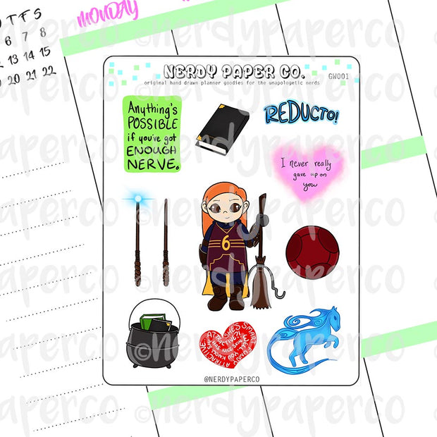 GINNY Sampler - Hand Drawn Wizard Planner Stickers | GW001