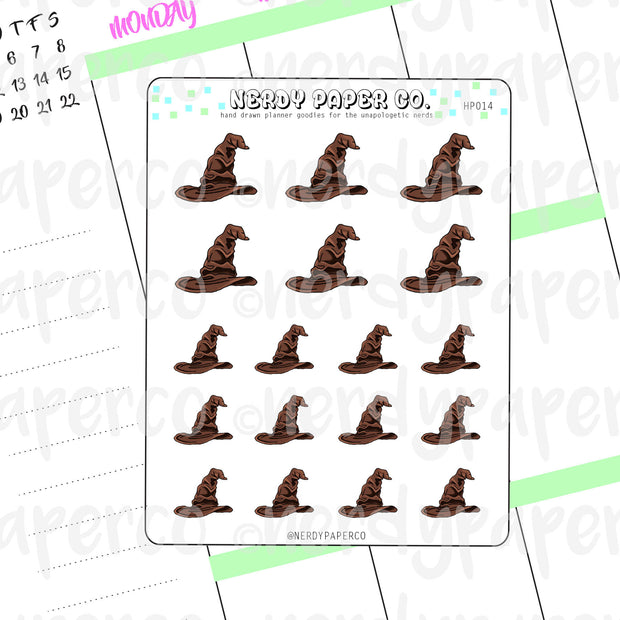 MAGICAL HAT STICKERS -  Hand Drawn Wizard Planner Stickers - Deco - HP014