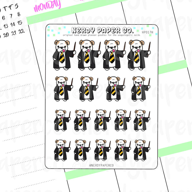THEO YELLOW HOUSE PRIDE - Hand Drawn Wizard Planner Stickers - HP017H