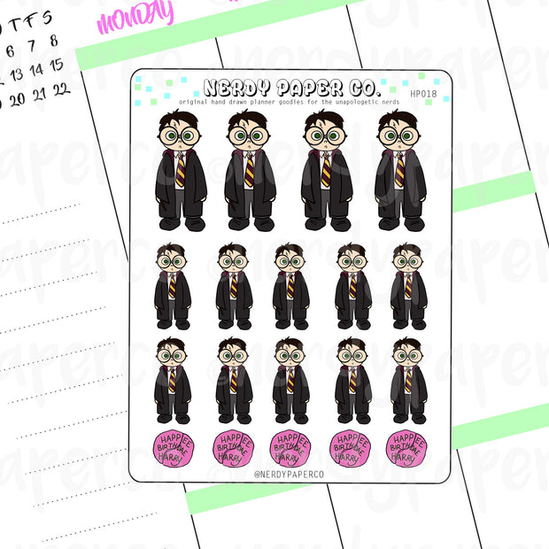 WIZARD BOY FULL SHEET - Hand Drawn Wizard Planner Stickers - Deco- HP018