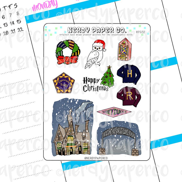 MAGICAL CHRISTMAS VILLAGE SAMPLER - Hand Drawn Wizard Planner Stickers - Deco- HP022