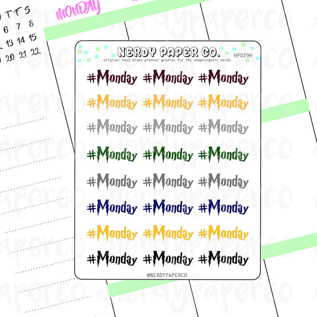 #MONDAY | HOUSE PRIDE - Hand Drawn Wizard Planner Stickers Deco | HP029H