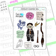 Wizard Boy Sampler | Hand Drawn Wizard Planner Stickers - Deco | HP030