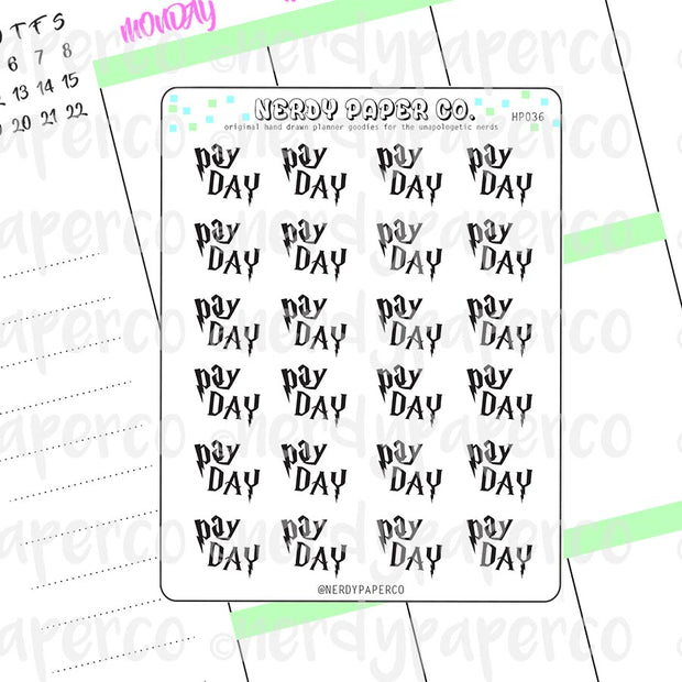 PAY DAY |  Hand Drawn Wizard Planner Stickers Deco | HP036