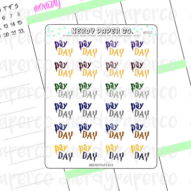 PAY DAY | HOUSE PRIDE - Hand Drawn Wizard Planner Stickers Deco | HP037
