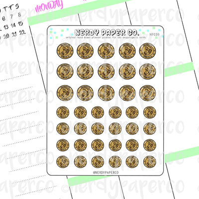 WIZARD COINS - Hand Drawn Wizard Planner Stickers Deco | HP039