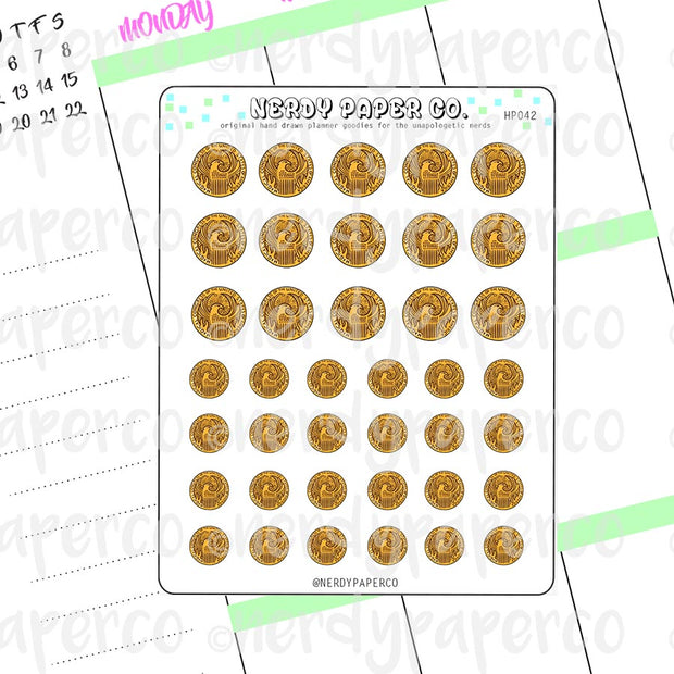 AMERICAN WIZARD COINS - Hand Drawn Wizard Planner Stickers Deco | HP042