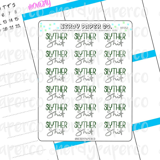SLYTHERSHIT - Hand Drawn Wizard House Planner Stickers - HP052