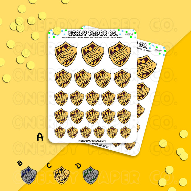 HOUSE PREFECTS  BADGE | HOUSE PRIDE - Hand Drawn Wizard Planner Stickers Deco | HP082