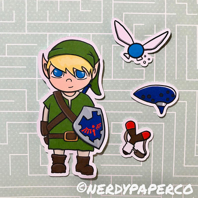 LINK ESSENTIALS PACK-  Hand Drawn Zelda- Inspired  Planner Die Cuts