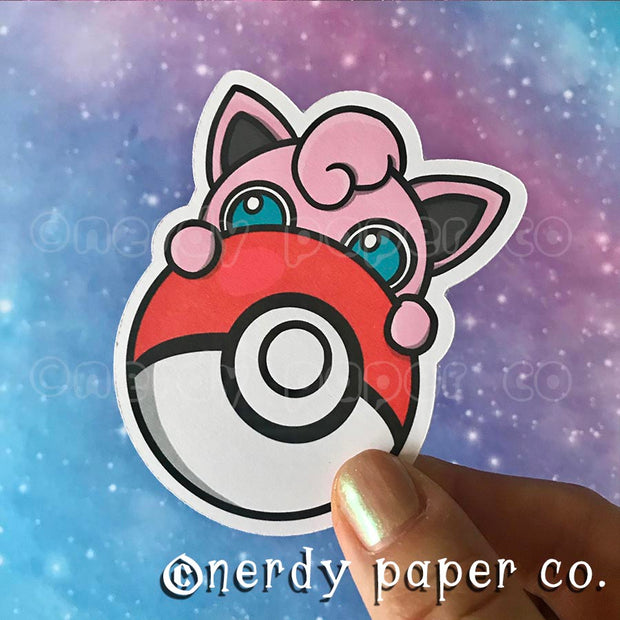 PEEKING JIGGLYPUFF - Hand Drawn Die Cut