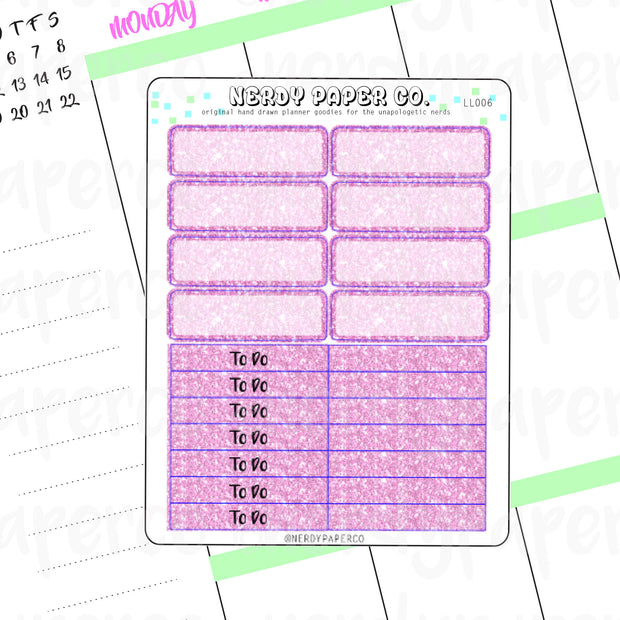 PINK GLITTER HEADERS AND 1/4 BOXES - Hand Drawn Planner Stickers - LL006