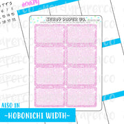 PINK GLITTER HALF BOXES - Hand Drawn Planner Stickers - LL007
